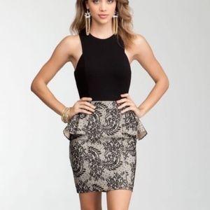 BEBE LBD Black Nude Jersey Top Peplum Pencil Skirt